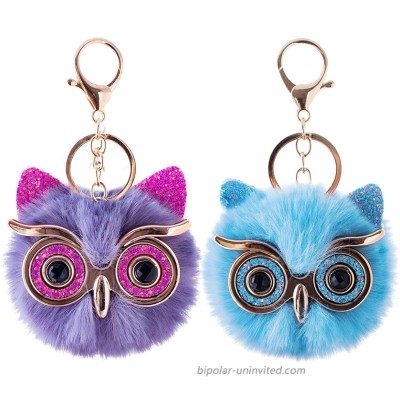 2Pcs Pom Pom Keychain Fluffy Cute Puff Ball Keychain for Women Owl Gift for Girls Bag Purse Car Key Rings Shiny Owl Blue at  Women's Clothing store