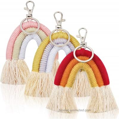 3 Pieces Boho Mini Tassel Rainbow Keychains Handmade Weaving Macrame Rainbow Keychains Car Key Ring Bag Wallet Purse Holder for Women Girls at  Women's Clothing store