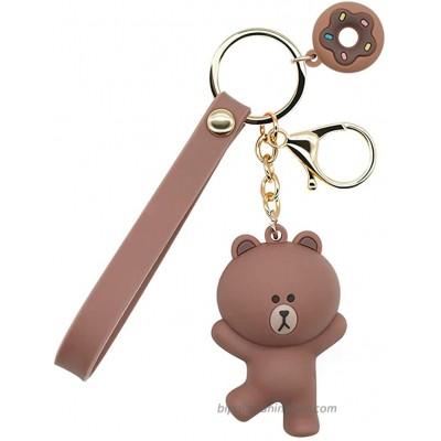 B62830000 570B6783000001 EN Keychains with Cute Cartoon Animals Ring Bag Charm Key Ring Decoration Gift for Girls Women Brown Medium