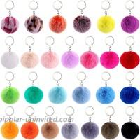 BQTQ 26 Pieces Keychain Pompom Rabbit Faux Fur Pompoms Fluffy Balls Fluffy Poms Keyirings for Women Girls Bag Accessories 26 Bright Colors
