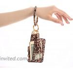 BSJELL Wristlet Keychain Wallet-Acetate Bangle Key Ring Bracelet Tassel Keyring ID Crad Charpstick Holder for Women Leopard at Women's Clothing store
