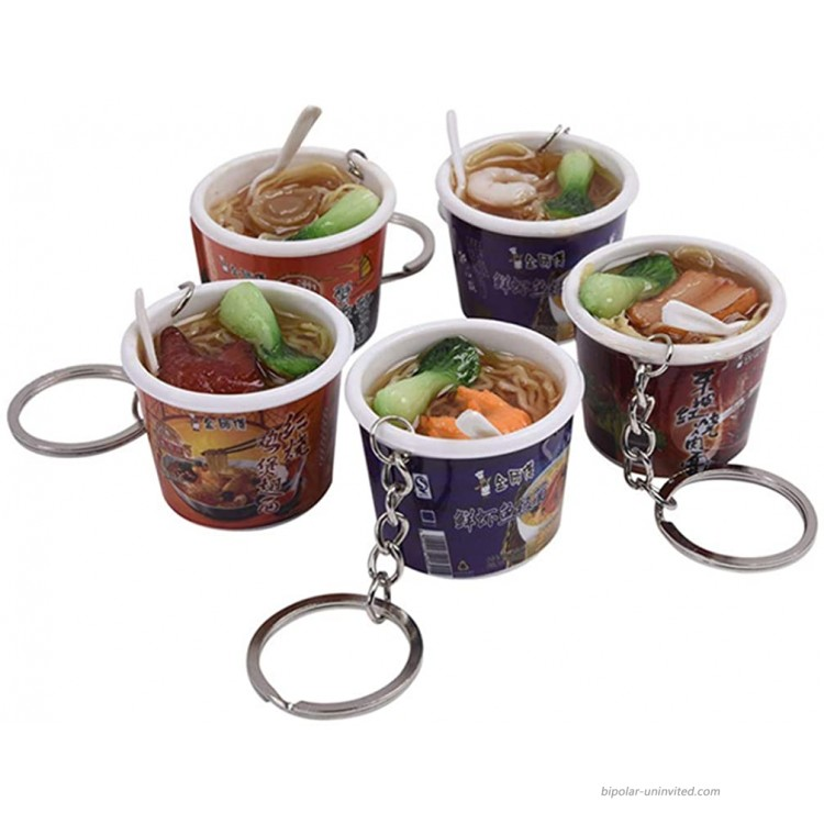 Hemobllo 5 Pcs Food Keychain - Cute Creative Instant Noodles Key Ring Cell Phone Charm Funny Bag Strap Pendant Simulated Mini Food Key Chains for Party Favours Xmas Gifts Assorted Style at Women's Clothing store