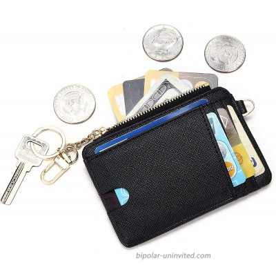 KUKOO Slim Minimalist RFID Credit Card Holder Front Pocket Wallet for Women Coin Purse with Keychain Gift Box at  Women's Clothing store