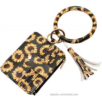 MONOBLANKS Wristlet Wallet Bracelet Keychain Card Holder Purse Tassel Keychain Bangle Key Ring for Women Sunflower at  Women's Clothing store