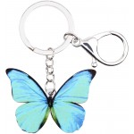 Morpho Menelaus Butterfly Key chains For Women Car Purse bag Rings Pendant Charms Blue at Women's Clothing store
