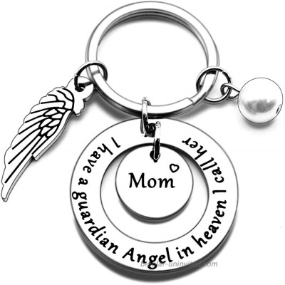 N X Mom Memorial Keychain Gift Loss of Mother Jewelry I have a guardian Angel in heaven I call her Mom Keychain Sympathy for Remembrance Memory Gifts Silver Small at  Women's Clothing store