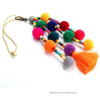 QTMY Colorful Pom Pom Beads Tassel Bag Charm Pendant Keyring Keychain for Women Purse Handbag Decor 1 at  Women's Clothing store