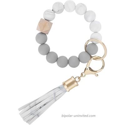 Weixiltc Bracelet Keychain Wristlet Silicone Bead Key Ring Bracelet for Women White at  Women's Clothing store