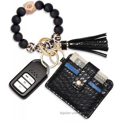 Wristlet Bracelet Keychain Wallet Silicone Bead House Car Key Ring Pocket Credit Card Holder Black 1 at  Women's Clothing store
