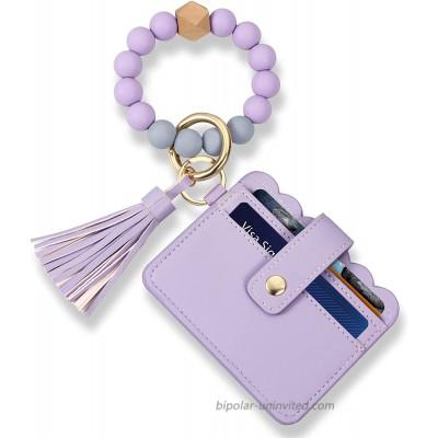 Wristlet Keychain Key Ring Bracelet Silicone Chain Beaded Bangle Card Holder at  Women's Clothing store