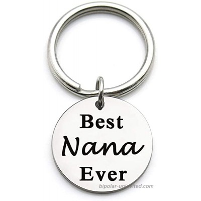 XYBAGS Mothers Day Christmas Birthday Gifts for Nana Metal Pendant Keychain Key Tag for Grandma Best Nana Ever