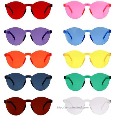 10 Pack Novelty Fashion Rimless Tinted Sunglasses Funny Transparent Glasses Candy Color Eyewear Holiday Costume Party Supplies Decoration for Teens and Adults