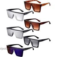 6 Pairs Square Oversized Sunglasses Chic Flat Top Sunglasses Colorful Big Shades Oversize Sunglasses with Velvet Bags for Women Men