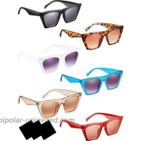 6 Pairs Vintage Square Cat Eye Sunglasses Women Retro Cateye Sunglasses with 3 Pieces Cleaning Cloth
