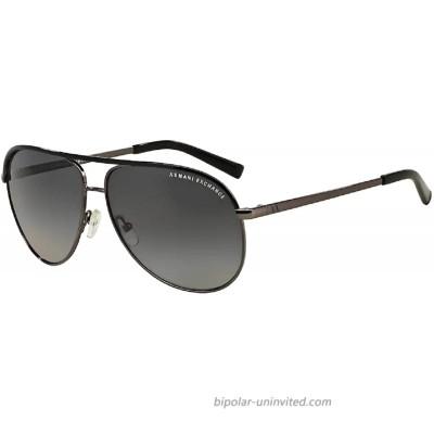 Armani Exchange AX2002 6006T3 61M Gunmetal Black Grey Gradient Polarized Pilot Sunglasses For Men For Women+FREE Complimentary Eyewear Care Kit