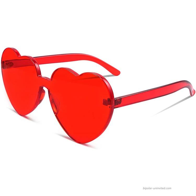 FEISEDY Rimless Heart Shaped Sunglasses Women One Piece Fashion Love Glasses B2419