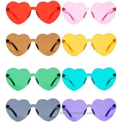 Gejoy Heart Shaped Love Rimless Sunglasses One Piece Transparent Candy Color Frameless Glasses Tinted Eyewear Thick slices 8 Pairs Color A