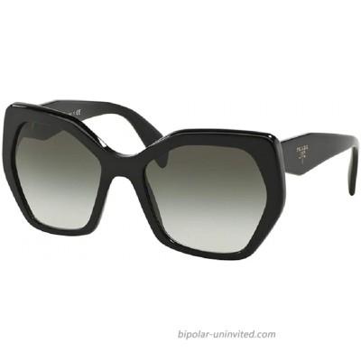 Prada PR16RS HERITAGE 1AB0A7 56M Black Grey Gradient Hexagon Sunglasses For Women+FREE Complimentary Eyewear Care Kit