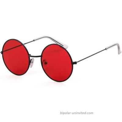 Round Retro Sunglasses Men Women Steampunk Style Circle Sun Glasses Black Frame Red Lens 50