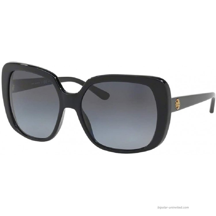 Tory Burch TY7112 1377T3 57M Black Grey Gradient Polarized Rectangle Sunglasses For Women+FREE Complimentary Eyewear Care Kit