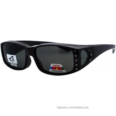 Womens Polarized Fit Over Glasses Sunglasses Rhinestone Rectangular Frame black 57