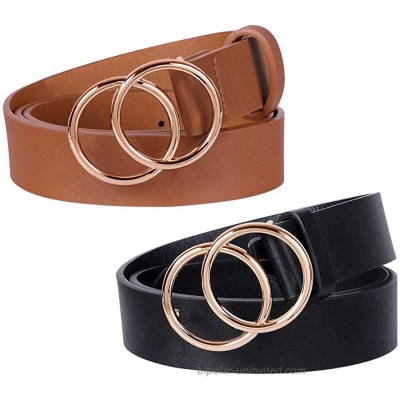 2 Pack Double Ring Buckle Belts Women Leather Waist Belts for Jeans Dresses at  Women's Clothing store