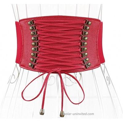 ALAIX Women's Wide Belt Faux Leather Underbust Corset Waist Belt for Dress Jumpsuit Coat Stretchy Dress Belts PU Waistband for women Red at  Women's Clothing store