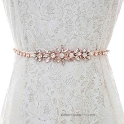 Brishow Handmade Rhinestone Bride Belts Sash Gold Crystal Wedding Bridal Belt Sashes for Women Dress Accessories at  Women's Clothing store
