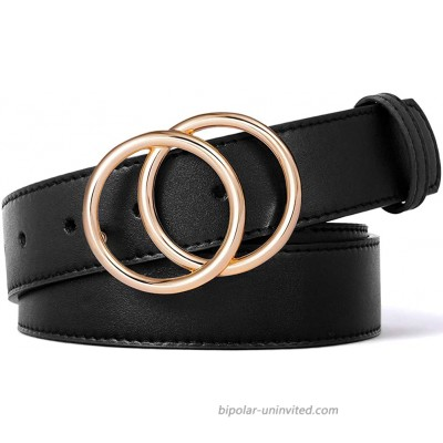 BROMEN Belt for Women Leather Belts for Dress Jeans Pants Waist Belt with Double O-Ring Buckle at  Women's Clothing store
