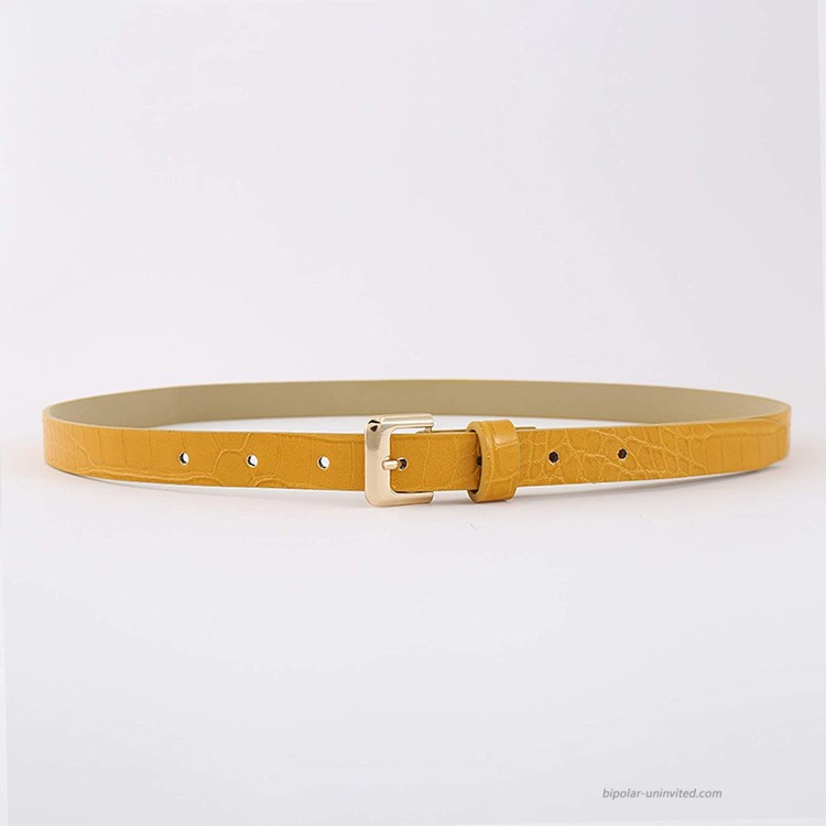 Fashion Womens Leather Belts with Pin Buckle Waist Belt for Jeans Pants,Yellow