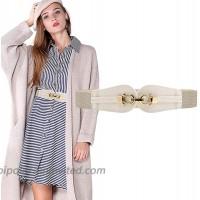 HANERDUN Women Elastic Waist Belt Retro Stretch Leather Belt Buckle for Dresses at  Women's Clothing store