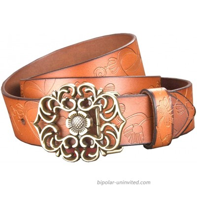 Hello My Life&Apparel Women's Genuine Cowhide Leather Belt with Flower Pin-Buckle Camel