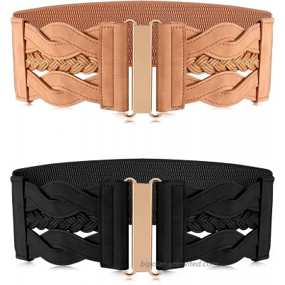 Hercicy 2 Pieces Women's Elastic Retro Belt Stretchy Wide Waist Belt Retro Buckle Belt for Women Dresses Shirts Black and Khaki at  Women's Clothing store