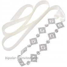 SWEETV Bridal Wedding Belt Sash Rhinestone Crystal Applique for Brides Bridesmaid Prom Dress Evening Gown Party Silver at  Women's Clothing store
