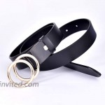 Talleffort Genuine Leather Belts for Women Double O-Ring buckle Belt for Jeans Pants Dresses at Women's Clothing store