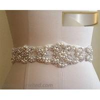 TRLYC Blush Ribbon Sash Handmade Wedding Dress Bridal Sash Belt Appliques Rhinestone Satin Crystal= 21 Long