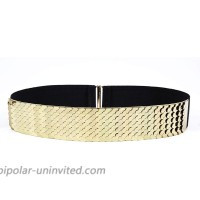 Waist Elastic Metal Belt Leather Metallic Bling Gold Plate Wide for Women gold at  Women's Clothing store