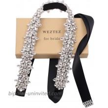 Weztez Silver Rhinestones Bridal Sash Belt with Black Ribbon Clear Crystal Wedding Belt Pearl for Bride DressSliver-black at  Women's Clothing store