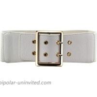 Women's 2.95″ Wide Elastic Stretch Waist Belt Retro Vintage Cinch Belt For DressWhite at  Women's Clothing store