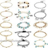 15 Pieces Ankle Chains Bracelets Adjustable Beach Anklet Foot Jewelry Set Anklets for Women Girls Barefoot Multicolor 4