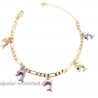 18K Gold Figaro Chain Ankle Bracelets for Women Teen Girls Cross  Elephant  Turtle  Dolphin Chain Anklet with Extension Fashion Party Jewelry Gifts Doiphin