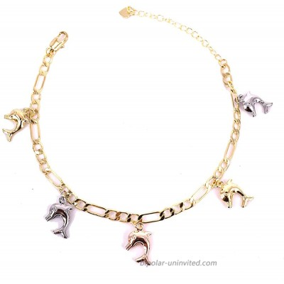 18K Gold Figaro Chain Ankle Bracelets for Women Teen Girls Cross| Elephant| Turtle| Dolphin Chain Anklet with Extension Fashion Party Jewelry Gifts Doiphin