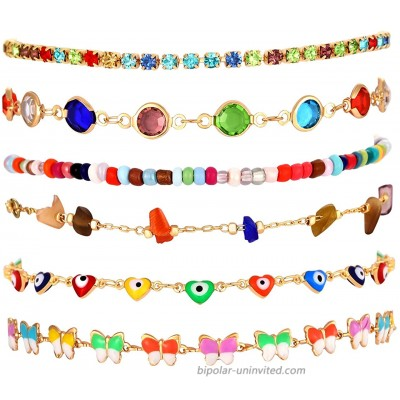 6pcs 18k Ankle Bracelet for Women Colorful Boho Seed Bead Butterfly Anklets Delicate Butterfly Charm Anklet Layered Rhinestone Filled Chain Ankle Bracelets Foot Jewelry Party Gift