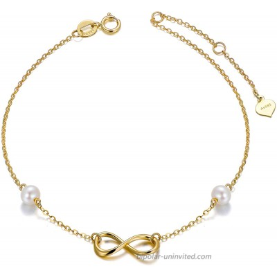9k Gold Infinity Anklets for Women Real Gold Pearl Jewelry Ankle Bracelet Gifts for Her 9.4+0.8+0.8