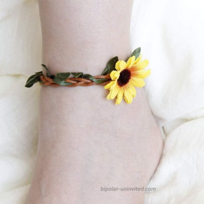 Aukmla Boho Sunflower Anklets Yellow Foot Jewelry Barefoot Sandal Bracelet Ankle Jewelry for Women and Girls
