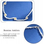 Bomine Boho Bead Ankle Bracelet Flower Anklets Beach Foot Chain Jewelry for Women and Girls White