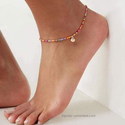Bomine Boho Shell Ankle Bracelet Rainbow Colorful Beaded Anklets Beach Foot Chain Jewelry for Women and Girls