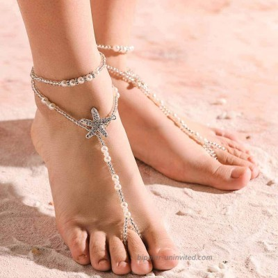 Chicque Beach Starfish Barefoot Sandals Pearl Bead Foot Chain Crystal Ankle Bracelet for Women and Girls 1 Paris