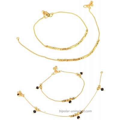 Efulgenz Indian Bell Charms Tassel Chain Anklet Set Bracelet Payal Foot Jewelry COMBO