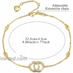 Esberry 18K Gold Plated 925 Sterling Silver 5A Cubic Zirconia CZ Double Circle Ankle Bracelets Charm Adjustable Foot Jewelry for Women and Teen Girls Gift for Valentine's Day